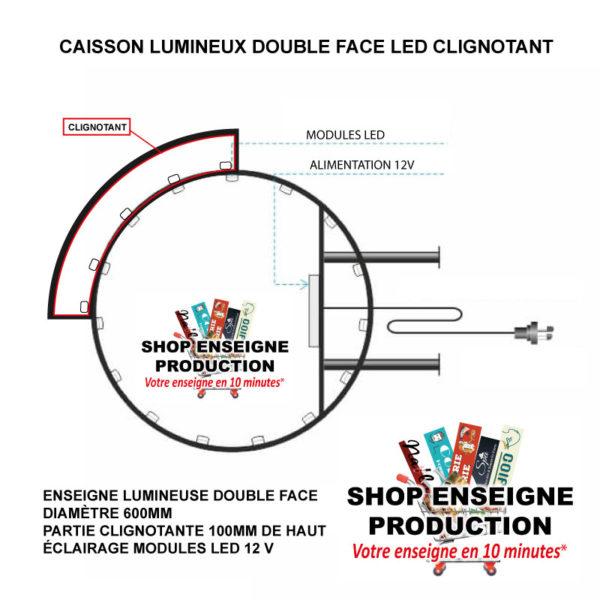 Enseigne lumineuse double face led ronde et clignotante shop enseigne production (1)