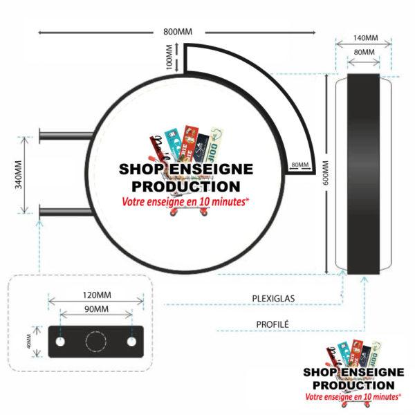 Enseigne lumineuse double face led ronde et clignotante shop enseigne production (2)